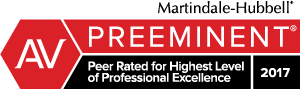 Martindale-Hubbell, AV Preeminent Peer Rated for Highest Level of Professional Excellence, 2017